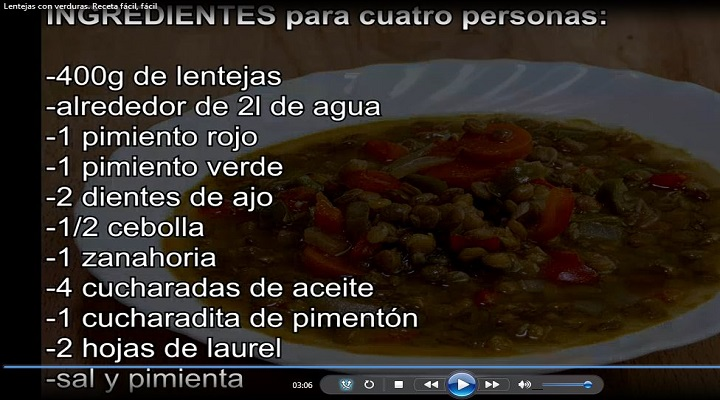 Ingredientes a utilizar